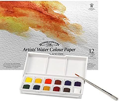 Winsor & Newton - Cotman Water Colour 12 Half Pan Sketchers' Pocket Box + A4 Gummed Pad