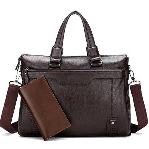 Männer Geschäfts-Tasche Geschäftsmann Männer Handtasche Taschen Crossing Aktenkoffer Herren Leder Tasche Computer Tasche Darkbrown