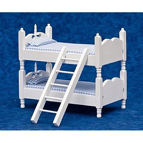 Miniatura Casa Delle Bambole scala 1:12 Arredamento Camera Letto Bianco