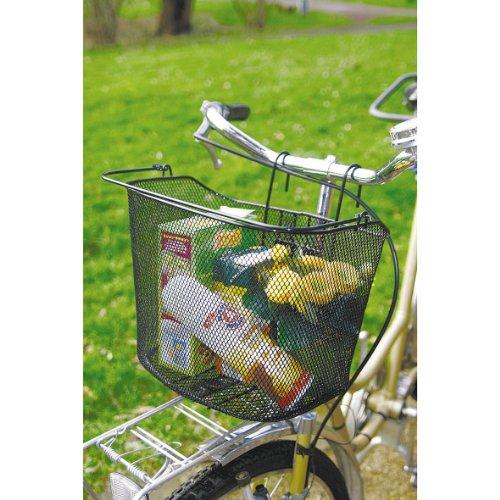 Bycicle Gear Fahrrad Lenkerkorb für Vorne mit Haken - Fahrradkorb Fahrradtasche - mit Bügel - 34 x 25 x 26 cm, Schwarz,