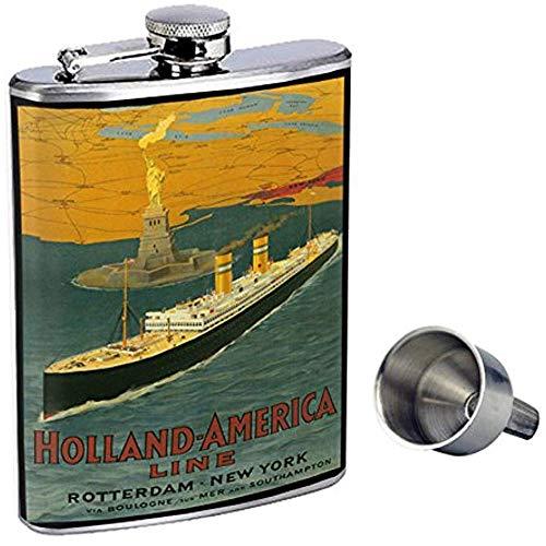 Perfection In Style Whiskyflasche Aus Edelstahl D-075 Holland America Line Rotterdam New York Über Boulogne 7OZ