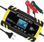 InThoor Chargeur de Batterie Intelligent 12V/24V 8A, 3 Étapes de Chargeur Batterie Mainteneur et Automatique R