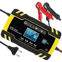 InThoor InThoor Automatique Chargeur Batterie pour Voiture, Maintainer Batterie Intelligent avec Affichage LCD   Paramètre: Entrée CA: 100-240V  Courant de Sortie: 12V 8A, 24V 4A Tension de Sortie: 12V/24V Tension à Vide: 13.8V Capacité de la Batteri...