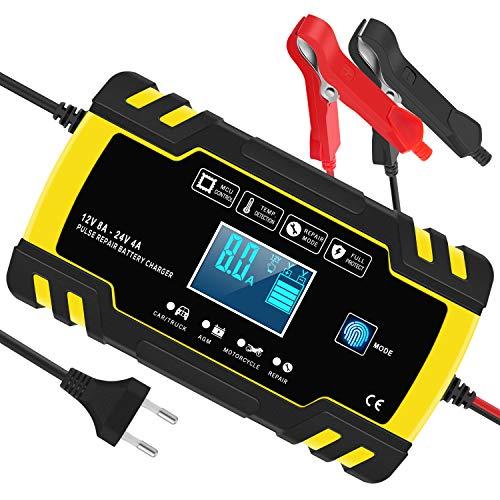 InThoor Chargeur de Batterie Intelligent 12V/24V 8A, 3 Étapes de Chargeur Batterie Mainteneur et Automatique...