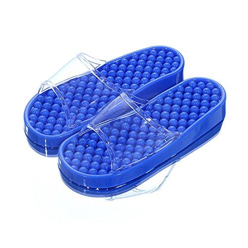 Pantoufles De Bain Tellw Pour Les Hommes Et Les Femmes Indoor Home Points Chaussures De Pédicure Couples Non-slip Bath Pantoufles D'été Frais Bleu