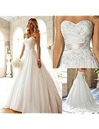 LUCKY-U Brautkleider Hochzeitskleid Nicht Ärmel Spitze Appliques Braut Eine Linie Hochzeitskleid Party Brautkleid