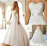 LUCKY-U Brautkleider Hochzeitskleid Nicht Ärmel Spitze Appliques Braut Eine Linie Hochzeitskleid Party Brautkleid, US 6