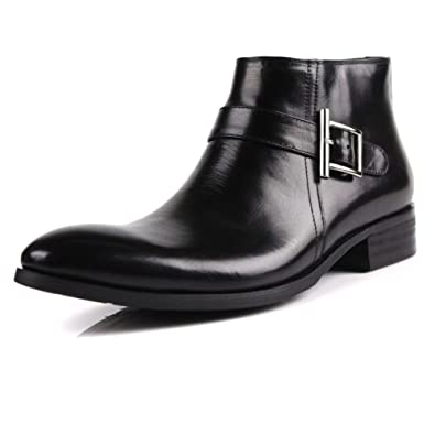 Genuine Leather Men's Leather Pointed Ankle Leisure Zipper In The Side