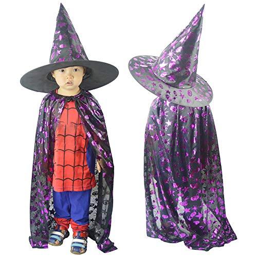 OHQ Kinder Jungen/Mädchen Halloween Kostüm Zauberer Hexe Mantel -