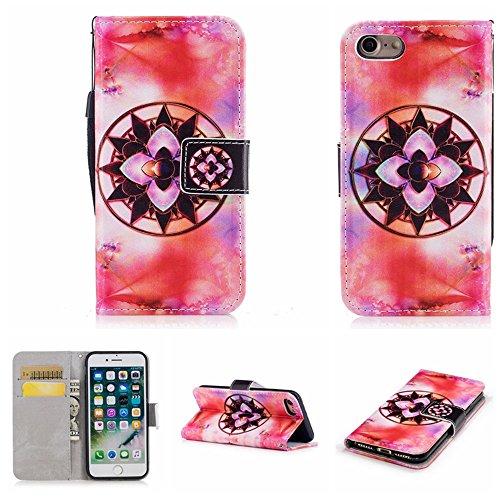 Ooboom® iPhone 5SE Hülle Flip Folio PU Leder Schutzhülle Handy Tasche Brieftasche Case Cover Stand für iPhone 5SE - Einhorn Blume