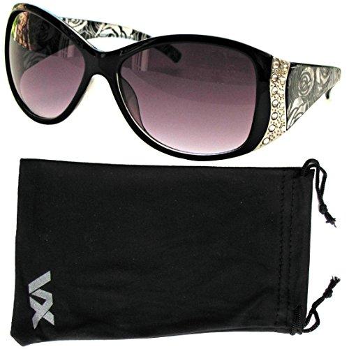 Occhiali da sole Sport del progettista moda strass Vintage Floral Eyewear Vox donna - Telaio nero - Lente fumo