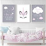 Póster de Unicornio con diseño de bebé y niña, impresión artística, con Texto en inglés Love You to The Moon, Pintura nórdica para decoración de habitación de niños, 50 x 70 cm, sin Marco