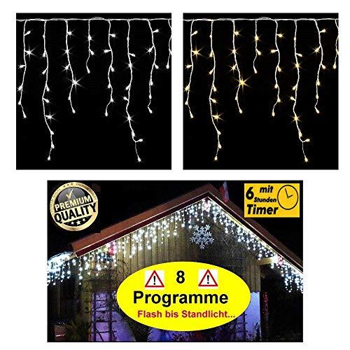 600/400 LED **Premium** Eisregen Lichterkette ges. 20m / 15m mit 8 Funktionen/Effekte (Flash bis Standlicht ect.) + Timer warmweiss oder kaltweiss Eiszapfen IP44 Eisregenkette (600 LED WARMWEISS)