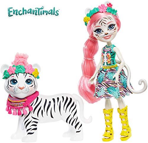 Enchantimals Muñeca Tadley Tiger con mascota Kitty White Tiger y accesorios (Mattel GFN57)