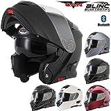 V271BLINC - Casco para motocicleta con Bluetooth VCAN V271BLINC, modular, con visor, en varios colores, negro