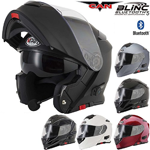 Casque Moto Modulable Bluetooth VCAN V271 BLINC avec Visière Rabattable Casque Touring Bluetooth, blanc, x large