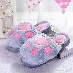 YMYGYR Pantuflas cómodas Resistentes,Hombre Mujer Animal Gato Garra Zapatillas de casa, Zapatillas de Felpa cálidas de Invierno Zapatos de algodón para Mujer Interiores Gris 40 41