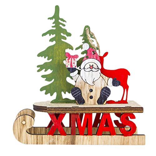 FeiliandaJJ Anhänger Hölzern Weihnachtsmann Schneemann Weihnachten Dekoration Hängende Verzierung für Zimmer Weihnachtsbaum Party Tür Wand Haus Deko Accessoires (A)