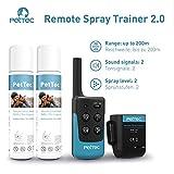 PetTec Remote Spray Trainer 2.0, Erziehungshalsband mit Fernbedienung, 200m Reichweite, Ferntrainer mit Spray (neutral oder citronella), umweltfreundlich und sanft