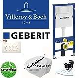 Geberit Duofix Vorwandelement Wand WC-Set + Villeroy&Boch Ceramicplus TakeOFF