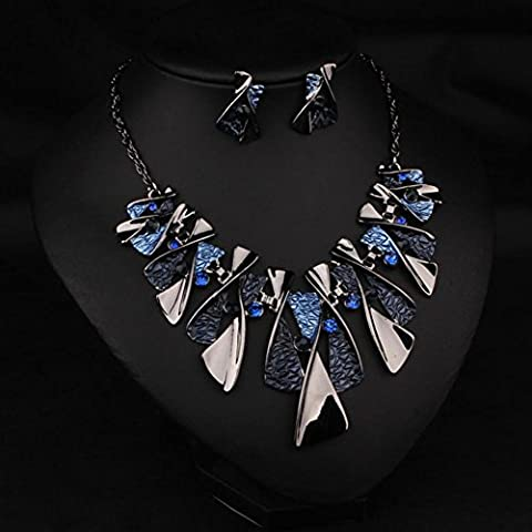 XXFFH Necklace Pendant Fashion Color Alloy Diamond Necklace Earring Set Bride Collar A Collar For A Horse, Blue