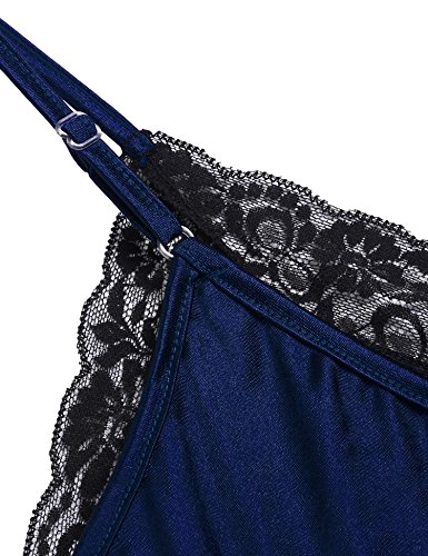ADOME Damen Sexy Spitze Lingerie Spaghetti Träger V-Neck One-Piece Bodysuit Nachthemd A Dunkel Blau