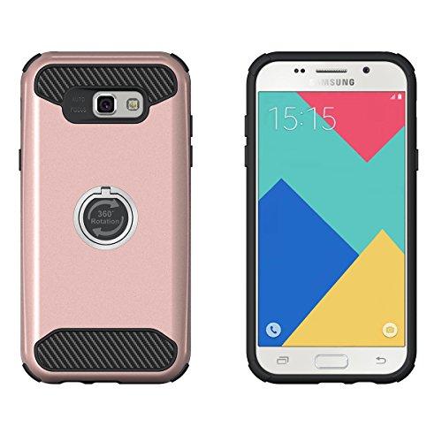 Galaxy A5(2017) Hülle,EVERGREENBUYING [Ring Series] Abnehmbare Hybrid Schein SM-A520F Tasche Ultra-dünne Schutzhülle Case Cover mit Ständer Etui für Samsung GALAXY A5 (2017 Release) Grün Rose Gold