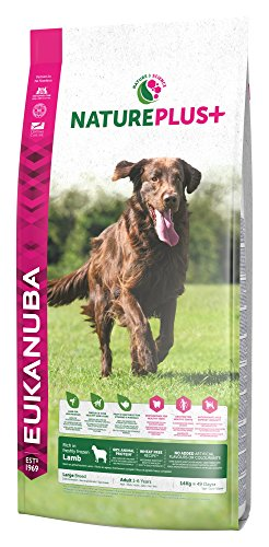 Eukanuba NaturePlus+ Hundefutter für große Rassen – Vollwertiges, natürliches Trockenfutter für ausgewachsene Hunde in der Geschmacksrichtung Lamm – 1 x 14kg Beutel