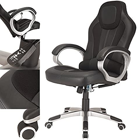 RayGar Black Deluxe Gaming Sports Racing Style Chair Computer Desk Reclining Office Chair