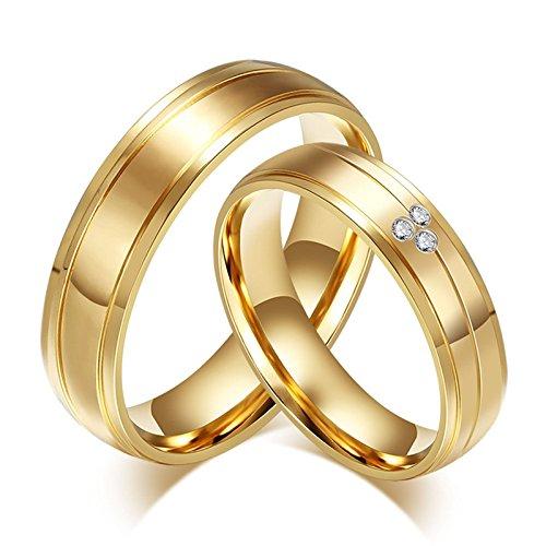 SonMo 2 Stück Frau Mann Edelstahl Ring Damen Zirkonia Damen Ring Zirkonia für Paare Gold Frau:49 (15.6) & Mann:60 (19.1) Breit:6MM
