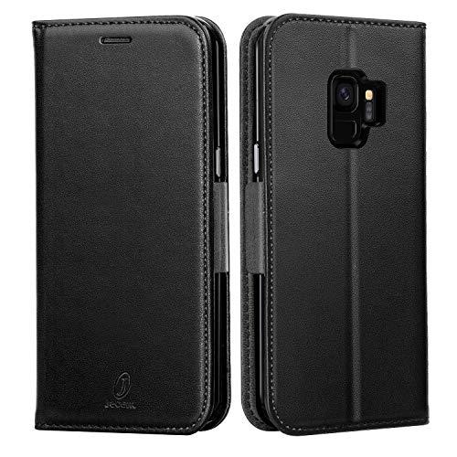 J Jecent Samsung Galaxy S9 Hülle Galaxy S9 Handyhülle PU Flip Leder Cover mit Cash Card Slots, Ständer Funktion & Magnetverschluss Wallet Case für Galaxy S9 (2018) 5.8 Zoll-Schwarz