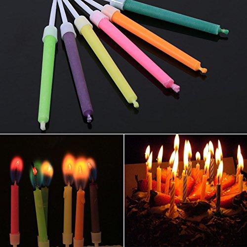 6 Unids Velas de Cumpleaños Hermoso con llamas Velas de Cumpleaños Decoración de Tarta 6 cm / 2.36 pulgadas