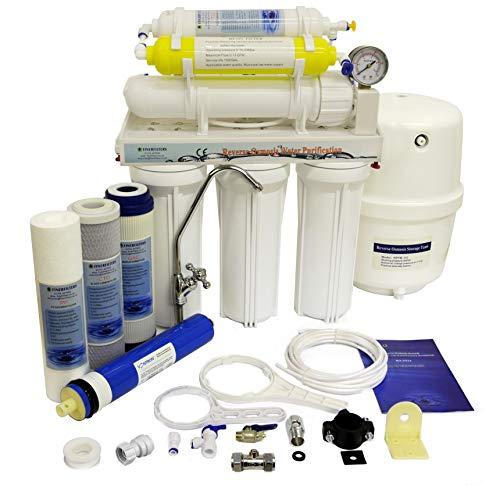 Finerfilters Domestic Home - Sistema de osmosis inversa de 6 etapas con eliminación de fluoruro (50 GPD), para el mejor agua potable