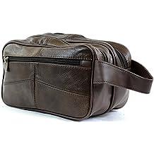 Bolsa de aseo para hombre, de piel, para artículos de aseo personal / viaje / vacaciones / pasar la noche fuera / fin de semana (color negro o marrón)