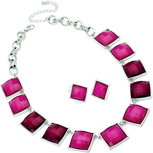 Zweifarbig fuchsia pink Silber Halskette Ohrring Kostüm-set
