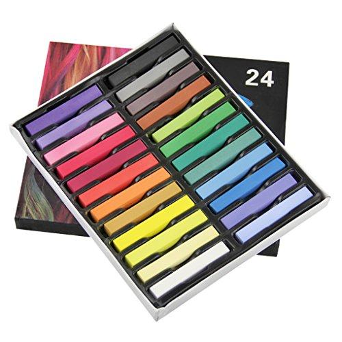 Haarkreide Set Harre Farbe mit 24 Farben für den Heimgebrauch, ungiftig Haartönung waschbar Pastell Salon-Kit für Fasching, Partys, (Haarfarbe Kostüm Schwarze)