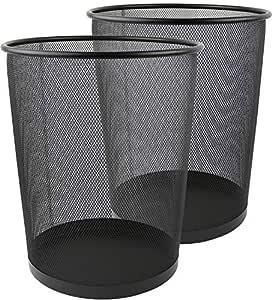 Greenco Mesh Wastebasket Trash Can, 6 Gallon, Black, 3 Pack