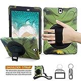 Samsung Galaxy Tab S3 9,7 Hülle, BRAECN [Heavy Duty] 360 Grad Drehbar Ständer/A Handschlaufe und Verstellbarem Schulterriemen Schutzhülle [stoßfest] Hybrid PC + Silikon Cover für Samsung Galaxy T820/T825 C (Tarnung)