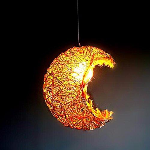 OLQMY-Ciondolo Luna in rattan, ristorante luci personalità creativa Cafe ristorante luci, luci di camera da letto den soggiorno portico (30cm),Brown