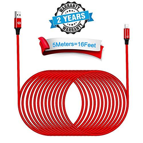 Eletrand 16FT/5M Phone Ladekabel USB Kabel Nylon Kabel Powerline usb phone cable Fast charger kabel super lang weiches Ladekabel für Phone X/XR/Max 8/8 Plus 7/7 Plus 6 Plus/6/5/5S/6s Pad Mini/Air