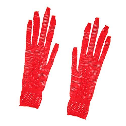 MagiDeal Elegant Hochzeit Netzhandschuhe Spitze Fischnetz Handschuhe Tanzhandschuhe Handgelenk Länge - Rot