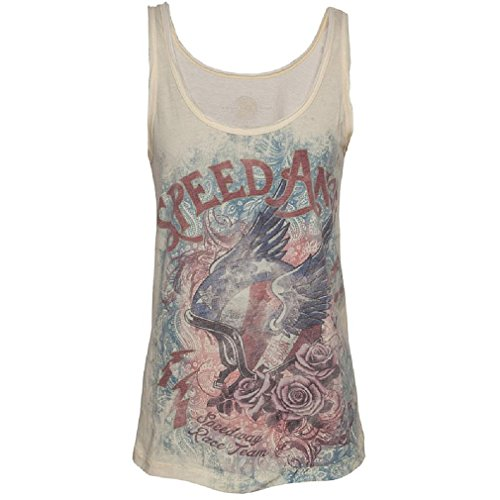 Queen Kerosin Damen Tank Top - Speed Angel Gelb L (Tank Wings Angel)