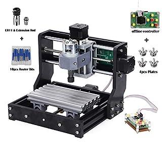 Upgrade-Version CNC 1610 Pro GRBL Steuerung DIY Mini CNC-Maschine, 3 Achsen PCB Fräsmaschine, Holz Router Stecher mit Offline-Controller, mit ER11 und 5mm Verlängerungsstange