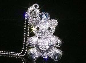 D-CLICK TM High Quality 8GB/16GB/32GB/64GB/ Fashion Jewelry Bling Shiny Crystal Diamond pendant USB High speed Flash Memory Stick Pen Drive Disk Necklace (8GB, Silver Bear)