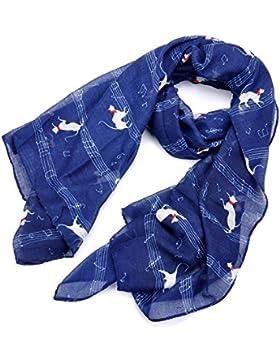 lureme®Poliéster Moda del Bowknot Gato Nota Impresión Yarn Animal Bufanda(01003983)