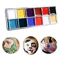 IROCH 12PCS Face Paint Set,Body Paint Set,Professional Face Painting Kit for Kids & Adults,Face Paint