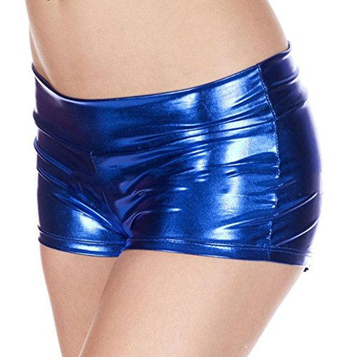 Dessous Damen Reizvolles Erotik Sunday Metallische Rave Booty Dance Shorts Nachgemachte Licht Frauen Kurze Unterwäsche Unterhosen (Blau, Freie Größe) (Bootie Front Strap)