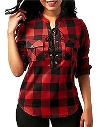 Yuelie 2018 Women Fashion Plaid Cross Strap Pocket Long Sleeve V-Neck T-Shirt Tops Blouse