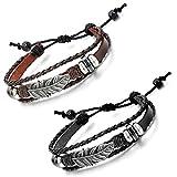Aroncent 2PCS Herren Damen Armband, Vintage Wickeln Feder charms Armreif, Verstellbaren Größen Lederarmband, Braun Schwarz