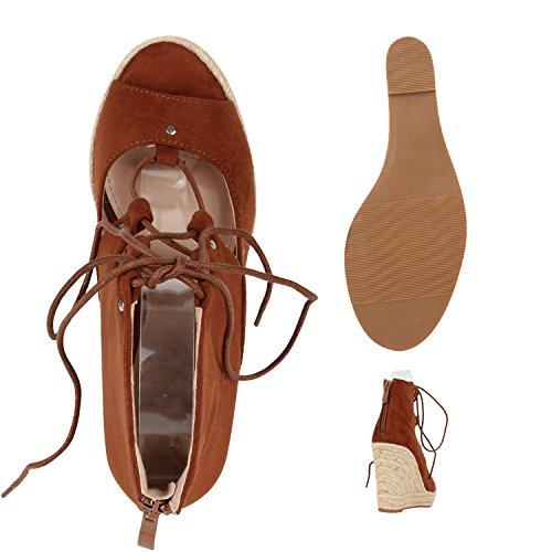Elegante Damen Sandaletten | High Heels Sation-Optik | Glitzer Metallic Brautschuhe | Party Schuhe Animal Print | Plateauschuhe Schleifen Muster | Abschlussball Braun Bast